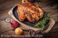 Hähnchen-Essen auf dem Hofgut Hopfenburg Münsingen