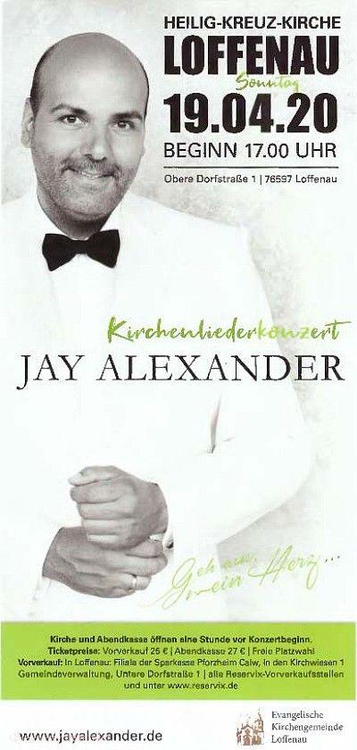 """Kirchenliederkonzert mit Jay Alexander - """"Geh aus mein Herz …"""" Loffenau"""